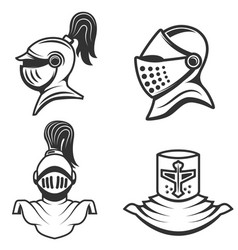 set of the knight helmets isolated on white vector image