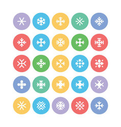Snowflakes colored icons 1 vector