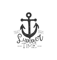 Summer holydays vintage emblem with anchor vector