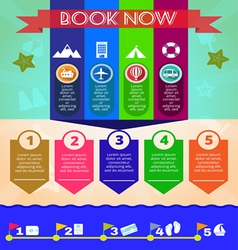 Summer time blue infographic with book now text vector