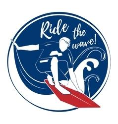 Surfer on big wave vector image