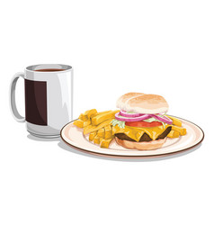 Tea mug with burger meal vector