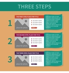 The template for the list of the three steps vector image vector image
