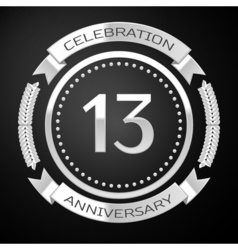 Thirteen years anniversary celebration with silver vector