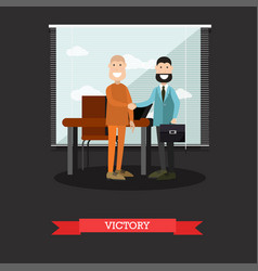 victory in court case concept vector image