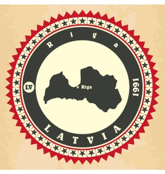 Vintage label-sticker cards of latvia vector