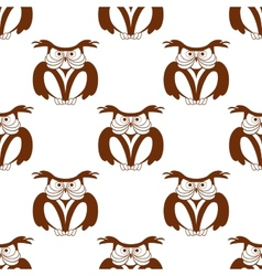 Wise old owl seamless background pattern vector image vector image