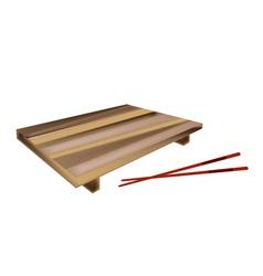 Wooden geta plate or bamboo sushi board vector