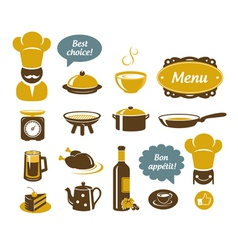 Kitchen and restaurant icons vector image