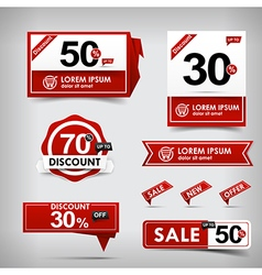 Collection of red and white web tag banner vector