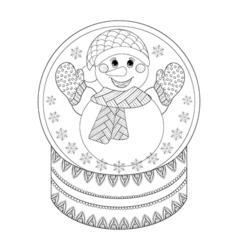 zentangle Chriatmas snow globe with snowman Hand vector image