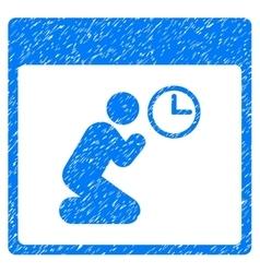 Pray clock calendar page grainy texture icon vector