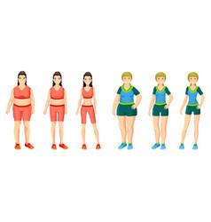 Cartoon women weight loss concept vector