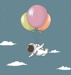 Astronaut fly with many balloons in sky vector