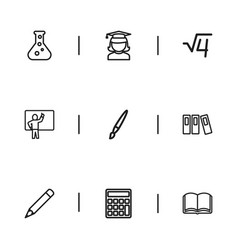 set of 9 editable teach outline icons includes vector image