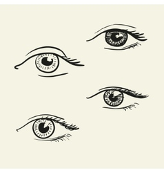 Hand-drawn eyes vector