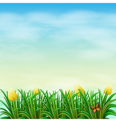 A view of nature with blooming flowers vector