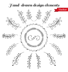 Hand drawn wreath and design elements vector