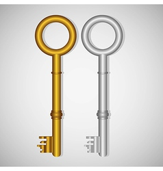 Old gold and silver keys on gradient background vector