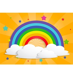 Rainbow star and clouds background vector