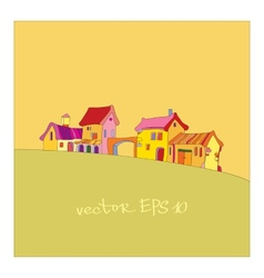 Small village painted in cartoon style vector