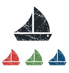 Sailing ship grunge icon set vector
