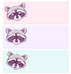 Pastel stickers with funny raccoons vector