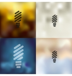 Fluorescent light bulb icon on blurred background vector