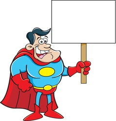 Cartoon super hero holding a sign vector