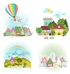 Lovely set of cute cityscape in different times of vector