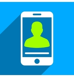 Mobile contact flat square icon with long shadow vector