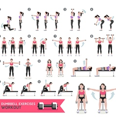 Woman dumbbell workout fitness and exercises vector