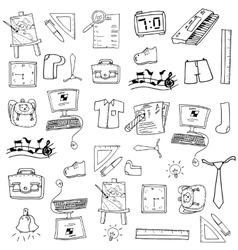 School doodles many object vector