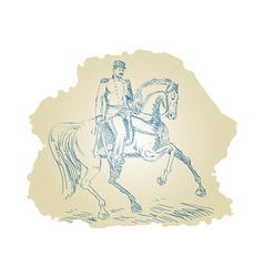American Civil War Union officer on horseback vector image vector image