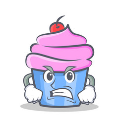 Angry cupcake character cartoon style vector