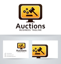 Auction logo with business card template vector image vector image