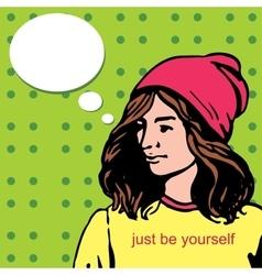 Beautiful yuong stylish girl woman at hat hipster vector image
