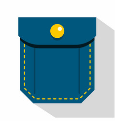 Blue pocket with yellow button icon flat style vector
