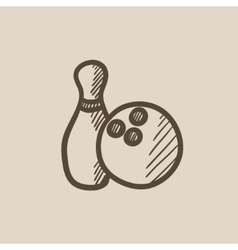 Bowling ball and skittle sketch icon vector image vector image