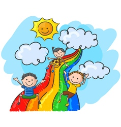 Cartoon little kids playing slide rainbow vector