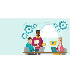 Caucasian people working in office under cloud vector