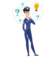 Caucasian police woman having idea vector