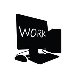 computer work black vector image