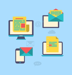 concept of email marketing via electronic gadgets vector image vector image