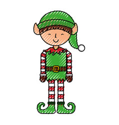 cute little christmas boy elf vector image
