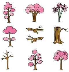 Doodle of pink tree and wood vector