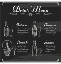 Drink menu elements on chalkboard vector image vector image