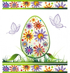 Easter egg with flowers vector image vector image