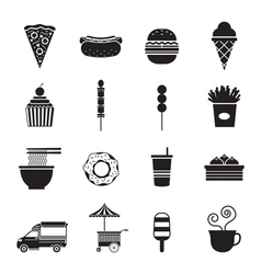 Fast food mono icons set vector