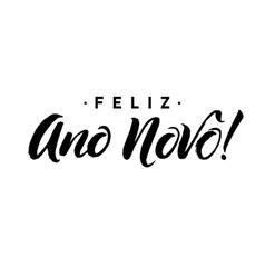 Feliz ano novo happy new year calligraphy in vector